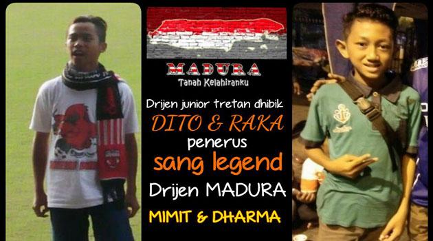 Dirigen cilik supporter Taretan Dhibik Dito dan Raka