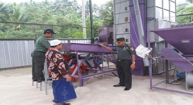 Dandim Letkol Inf Nuryanto saat meninjau lokasi pengeringan padi di Waru, Pamekasan, Madura.