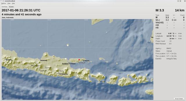 Lokasi gempa yang terjadi di Pamekasan, Madura pada 7 Januari 2017.