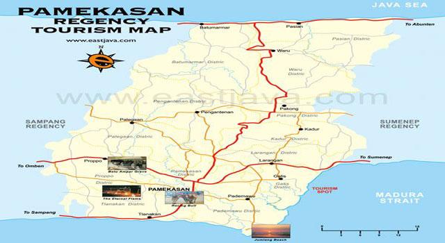 Peta wilayah Kabupaten Pamekasan, Madura, Jawa Timur.